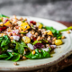 Warm spinach and roast vegetable salad