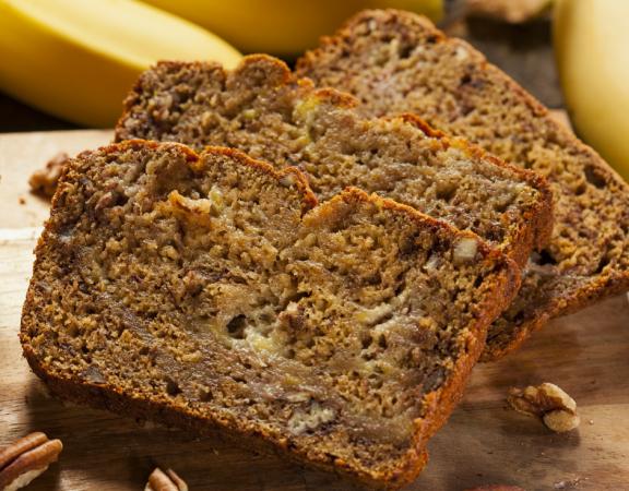 Healthy banana bread slices